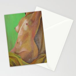 Young Beautiful Nude Woman Reclining In Sheets Stationery Cards