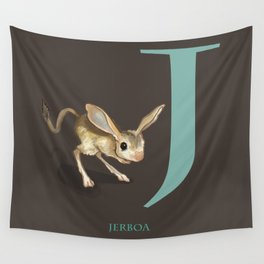 J is for Jerboa: Under Appreciated Animals™ ABC nursery decor dark grey unusual animals Wall Tapestry