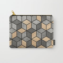 Concrete and Wood Cubes Carry-All Pouch