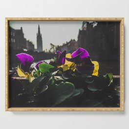 Bruges yellow and purple flowers Serving Tray