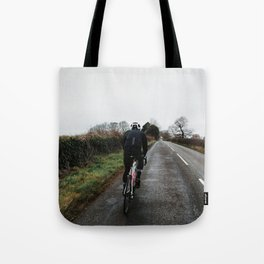 cycling on winter british lanes Tote Bag