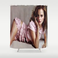 emma watson Shower Curtains featuring Emma Watson by Susan Lewis