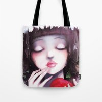 snow Tote Bags featuring Snow white by Ludovic Jacqz