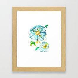 Lakeside Watercolour Blue Daisies Framed Art Print