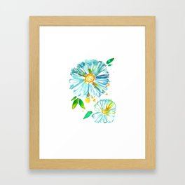 Lakeside Watercolour Blue Daisies Framed Art Print
