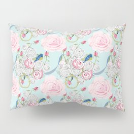 Bluebirds and Shabby Chic Roses on Paris Blue Pillow Sham