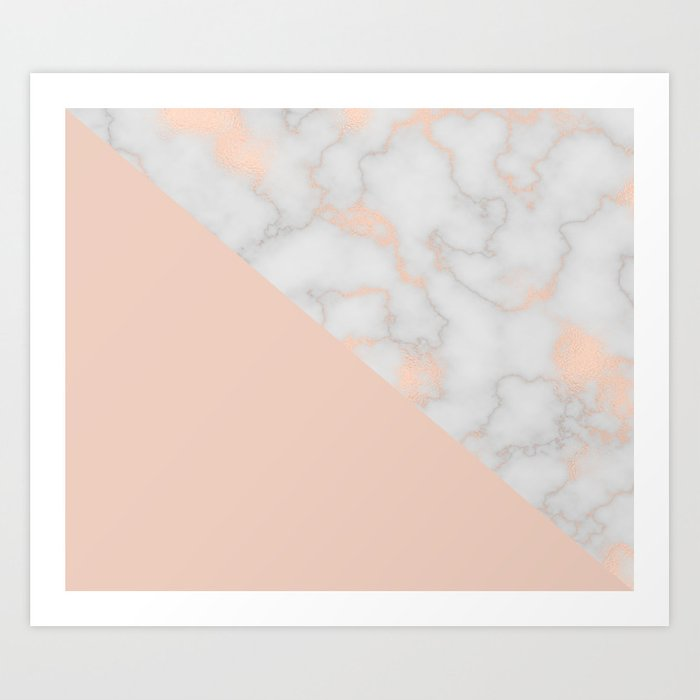 Rose gold marble and soft blush pink Art Print