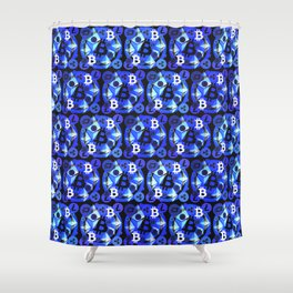 Crypto currency blue pattern Shower Curtain