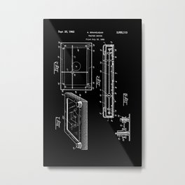 Etch-A-Sketch: Original Patent Drawing - White on Black Metal Print