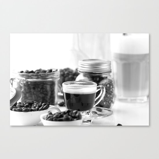black and white coffee bar canvas print by tanja riedel