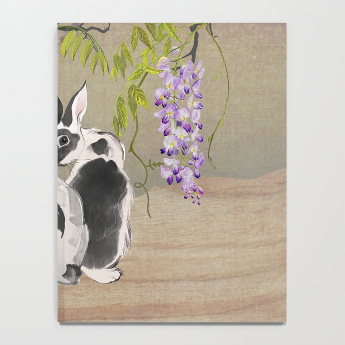 Two Rabbits Under Wisteria Tree Notebook
