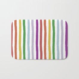 LGBTQ Rainbow Flag Cabana Stripes Bath Mat