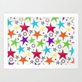 cute colourful stars Art Print