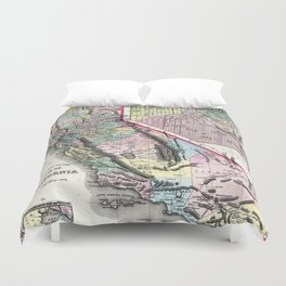 1872 Map of California and San Francisco Duvet Cover