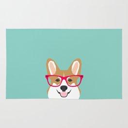 Teagan Glasses Corgi cute puppy welsh corgi gifts for dog lovers and pet owners love corgi puppies Rug