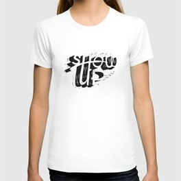 Show-up black and white lino print T-shirt