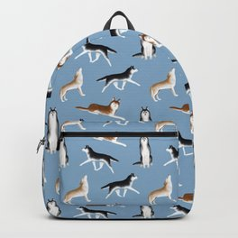 Husky Pattern (Blue Gray Background) Backpack