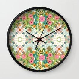 floral zellij ntropical Wall Clock