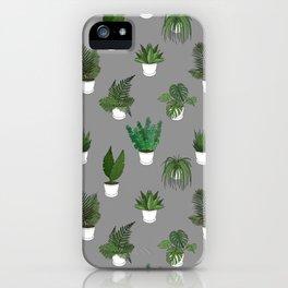 Houseplants Illustration (grey background) iPhone Case