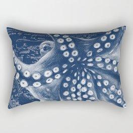 Octopus Vintage Map Blue Nautical Art Rectangular Pillow