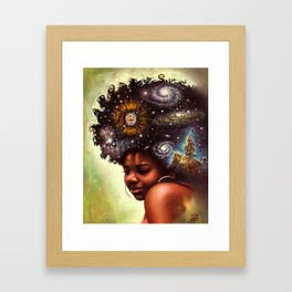 Black-Girl Magic - woman with the universe in her afro Framed Art Print
