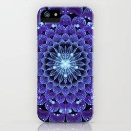Accordant Electric Blue Fractal Flower Mandala iPhone Case