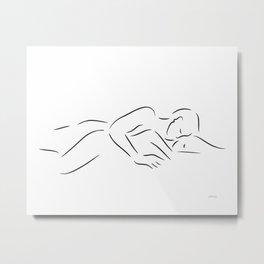 Minimalist couple sketch. Art for bedroom. Metal Print