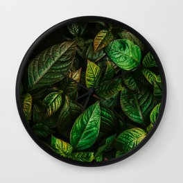 Golden Green Leaves Wall Clock