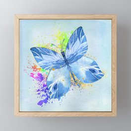 Blue Butterfly Watercolor Rainbow And Gold Framed Mini Art Print