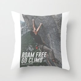 Roam Free Go Climb Rock Wall Adrenaline Throw Pillow