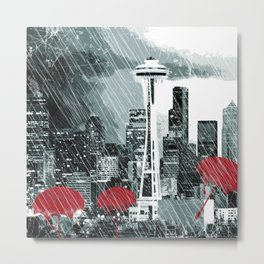 Seattle Skyline in Winter with Red Umbrellas Metal Print