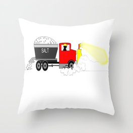 Winter Salty Snow Plow Driver Throw Pillow