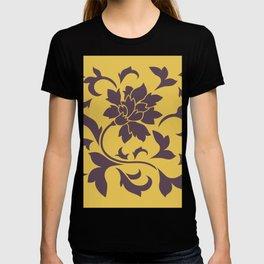 Oriental Flower - Cherry Chocolate Mustard T-shirt