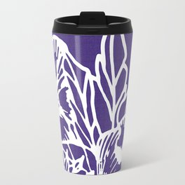 White Flowery Linocut Wreath On Checked UltraViolet Travel Mug