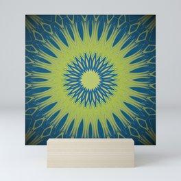 Bright Lime Green and Blue Mandala Mini Art Print