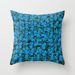 Blue sakura forest  tree so meditative and calm Throw Pillow