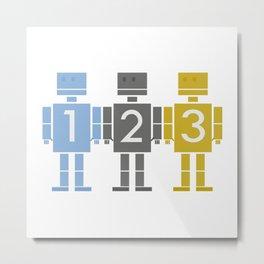 123 Robots Metal Print