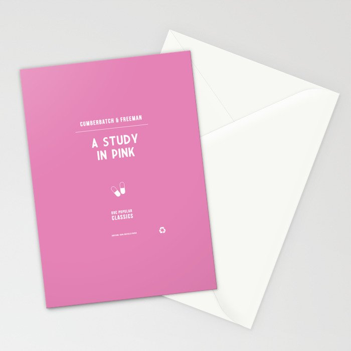 BBC Sherlock A Study in Pink Minimalist Poster Stationery Cards