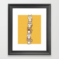 Woodland Creature Totem Pole Framed Art Print
