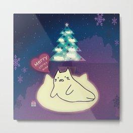 Merry Christmas cat 90 Metal Print