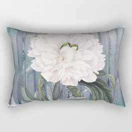 White Peony On Winter Grey Fence Rectangular Pillow
