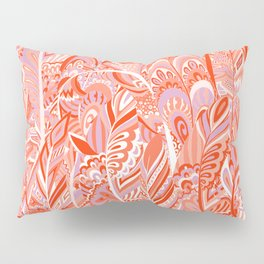 Abstract red coral lilac hand painted bohemian feathers pattern Pillow Sham