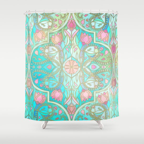 Floral Moroccan in Spring Pastels - Aqua, Pink, Mint & Peach Shower ...