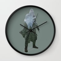 assassins creed Wall Clocks featuring Assassins Creed - Woodland by Fatih