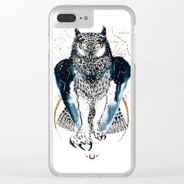 Cosmic Ink Owl Clear iPhone Case