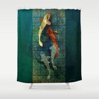 koi Shower Curtains featuring Koi by Elsa Herrera-Quinonez
