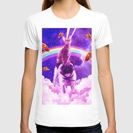 Cosmic Cat Riding Unicorn Pug T-shirt
