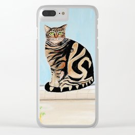 Cat sitting on window sill Clear iPhone Case