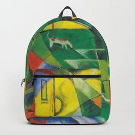"""Franz Marc """"Landscape with House and Two Cows (also known as Landscape with House, Dog and Cattle)"""" Backpack"""