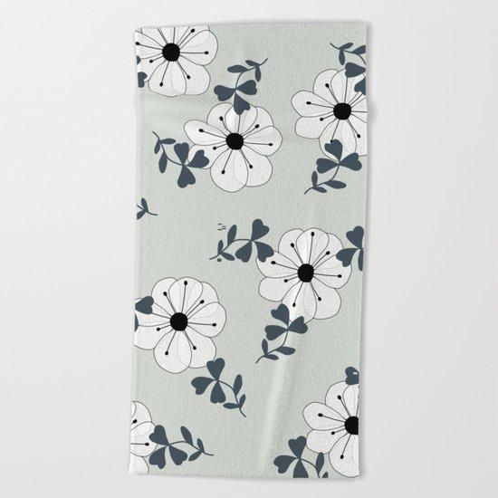 Delicate Flowers Pattern Beach Towel